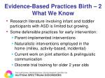 evidence based practices birth 2 what we know