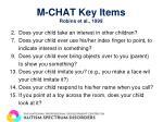 m chat key items robins et al 1999