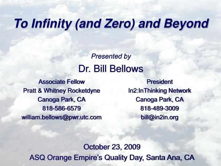 to infinity and zero and beyond n.