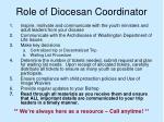 role of diocesan coordinator