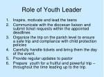 role of youth leader