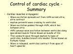 control of cardiac cycle summary