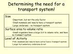 determining the need for a transport system2