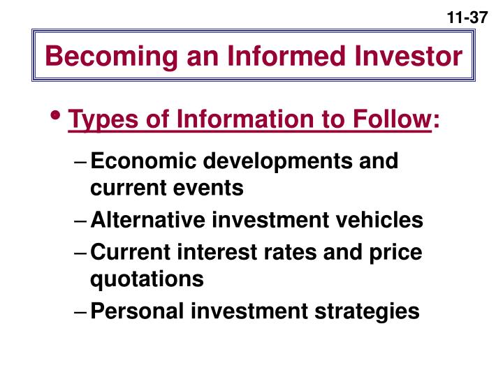 Becoming an Informed Investor
