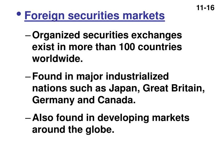 Foreign securities markets