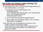 die kritik von hendry data mining 2