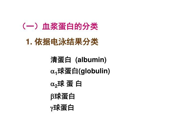 (一)血浆蛋白的分类