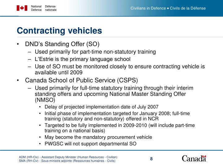 Contracting vehicles