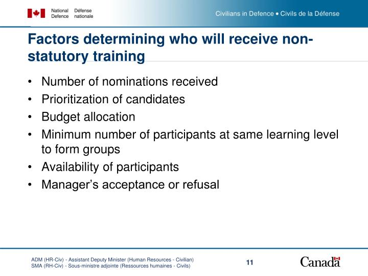 Factors determining who will receive non-statutory training