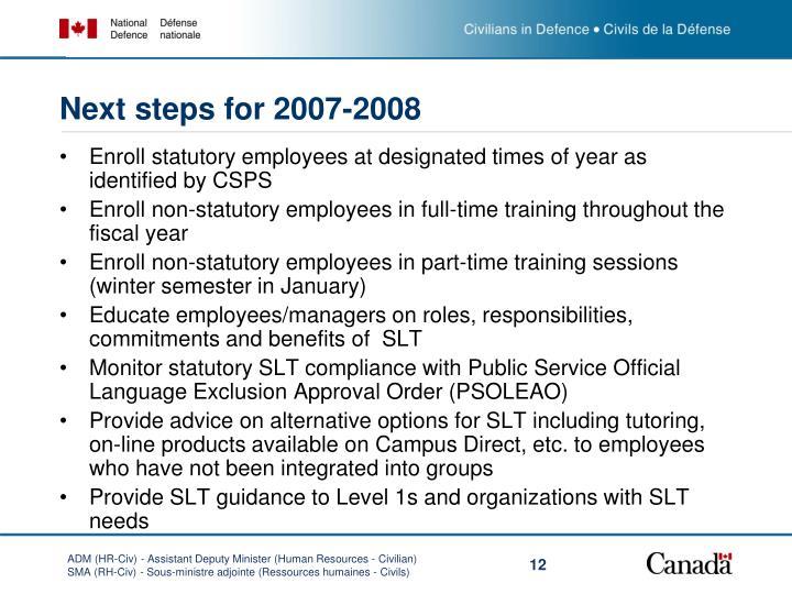Next steps for 2007-2008