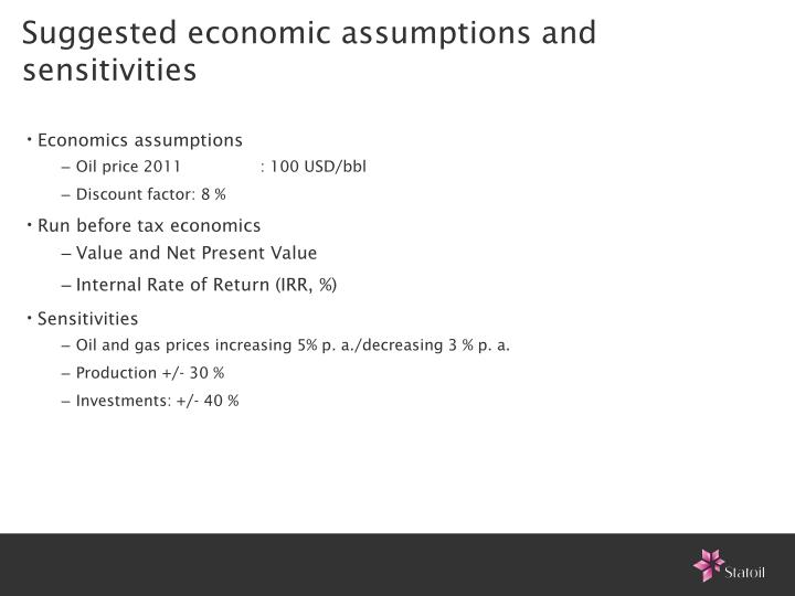 Suggested economic assumptions and sensitivities