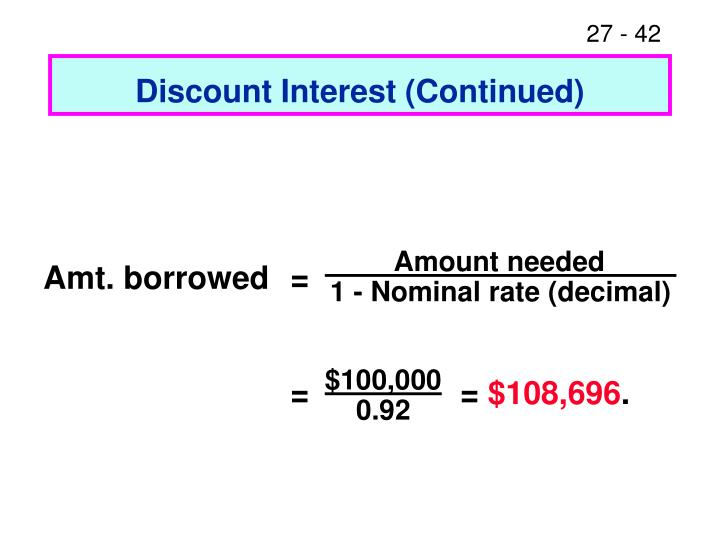 Discount Interest (Continued)