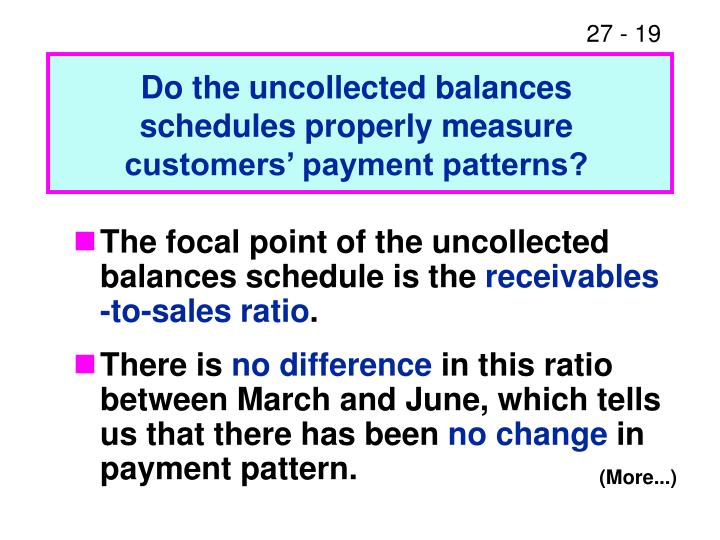 Do the uncollected balances schedules properly measure customers' payment patterns?