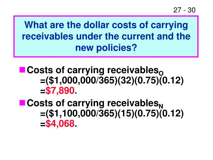 What are the dollar costs of carrying receivables under the current and the new policies?