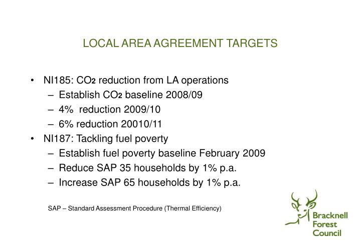 LOCAL AREA AGREEMENT TARGETS