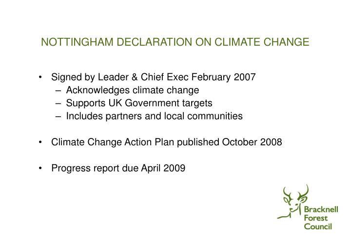 Nottingham declaration on climate change