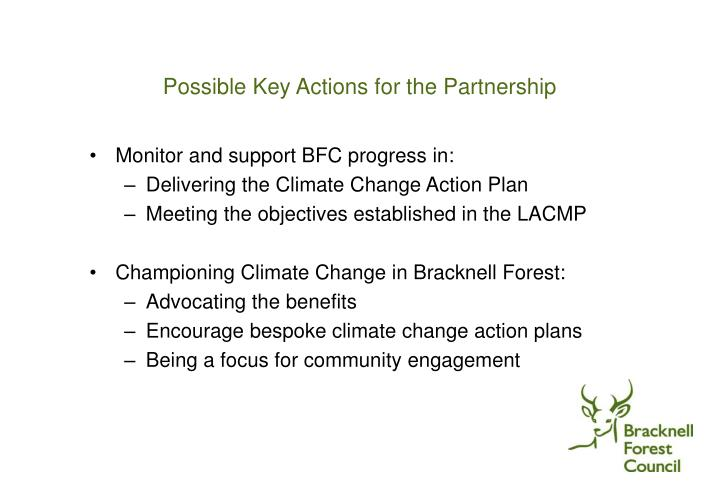 Possible Key Actions for the Partnership