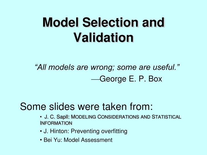 model selection and validation n.