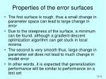 properties of the error surfaces