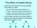 the effect of weight decay