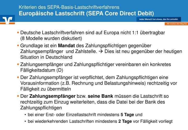 Kriterien des SEPA-Basis-Lastschriftverfahrens