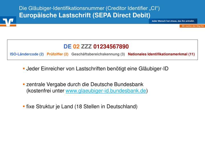 """Die Gläubiger-Identifikationsnummer (Creditor Identifier """"CI"""")"""