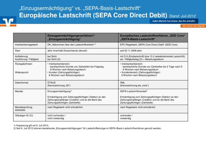 """""""Einzugsermächtigung"""" vs. """"SEPA-Basis-Lastschrift"""""""