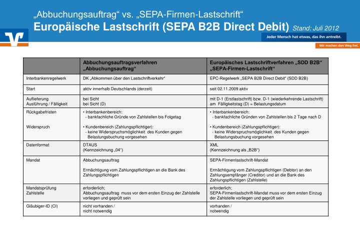 """""""Abbuchungsauftrag"""" vs. """"SEPA-Firmen-Lastschrift"""""""