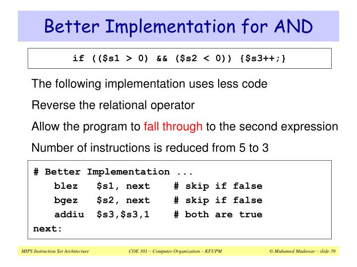 Better Implementation for AND