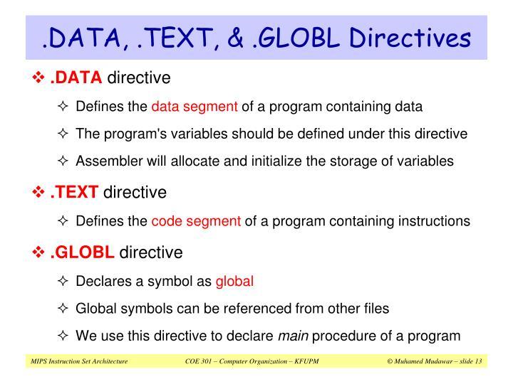 .DATA, .TEXT, & .GLOBL Directives