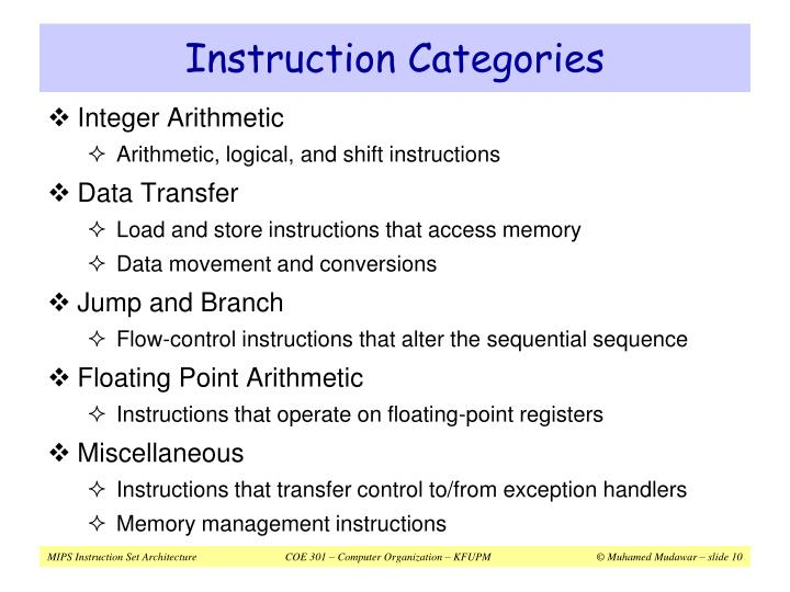 Instruction Categories