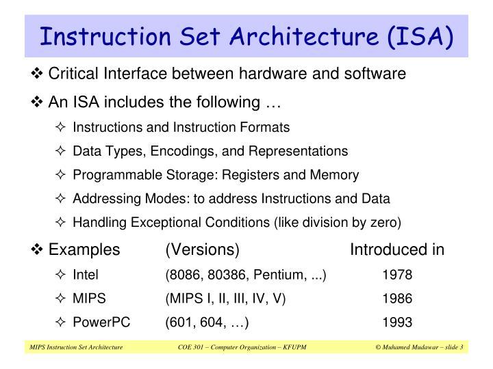 Instruction set architecture isa