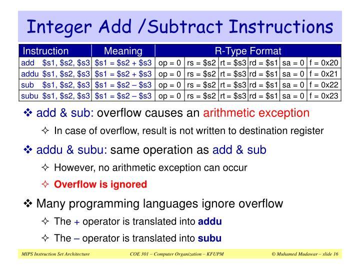 Integer Add /Subtract Instructions