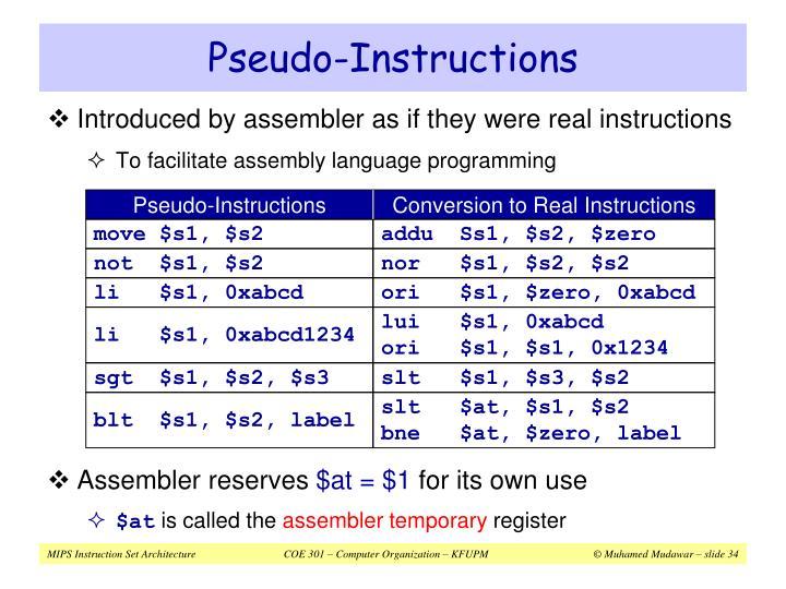 Pseudo-Instructions