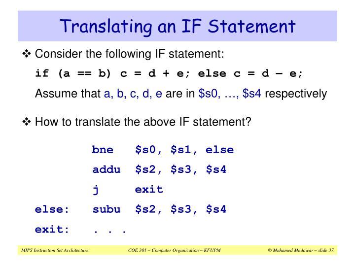 Translating an IF Statement