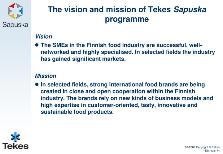 The vision and mission of Tekes