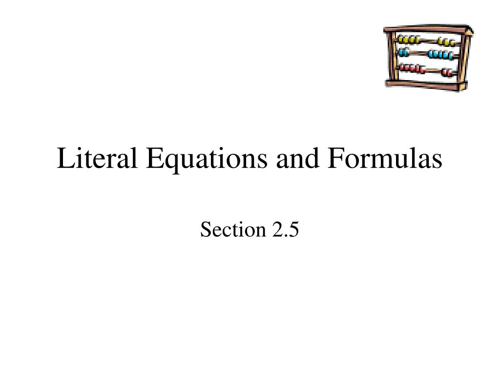ppt - literal equations and formulas powerpoint presentation - id
