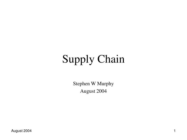 supply chain n.
