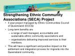 strengthening ethnic community associations seca project