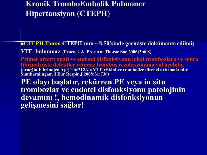 Kronik tromboembolik pulmoner hipertansiyon cteph