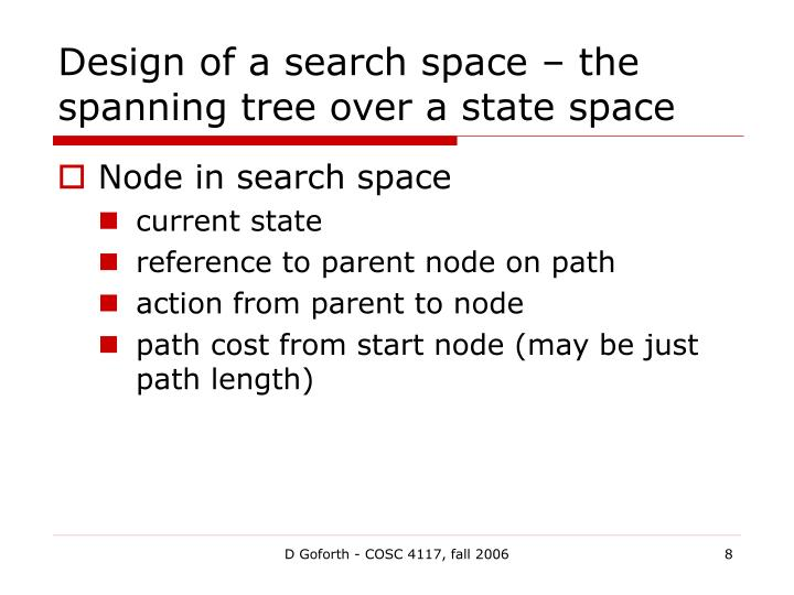 Design of a search space – the spanning tree over a state space