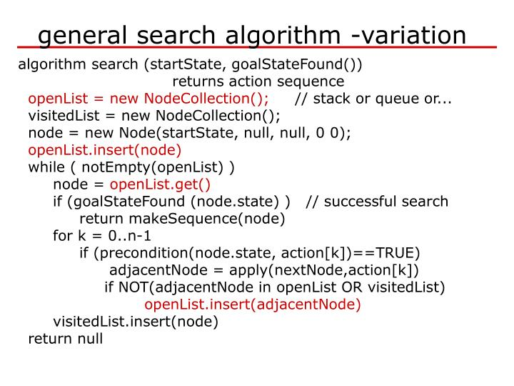 general search algorithm -variation