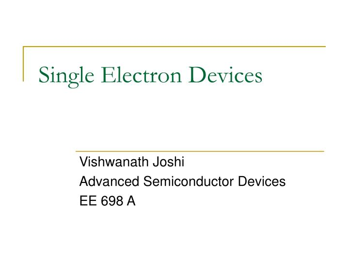 single electron devices n.