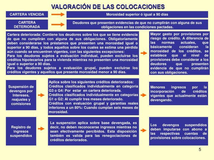 VALORACIÓN DE LAS COLOCACIONES