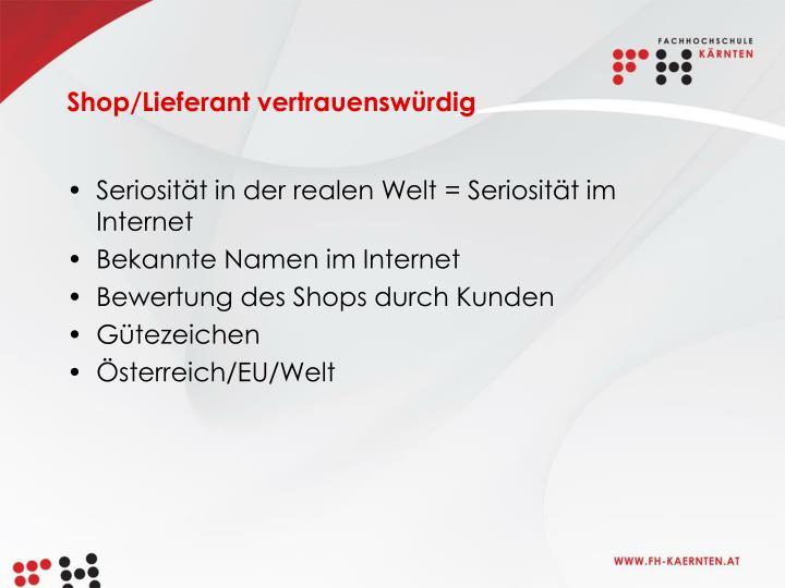 Shop/Lieferant vertrauenswürdig
