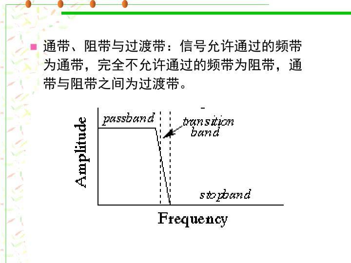 通带、阻带与过渡带:信号允许通过的频带为通带,完全不允许通过的频带为阻带,通带与阻带之间为过渡带。