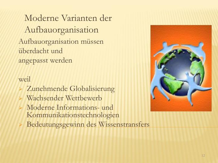 Moderne Varianten der Aufbauorganisation