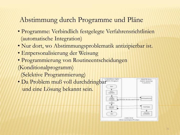 Abstimmung durch Programme und Pläne