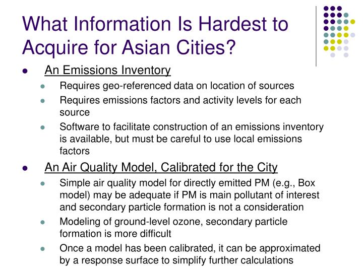 What Information Is Hardest to Acquire for Asian Cities?