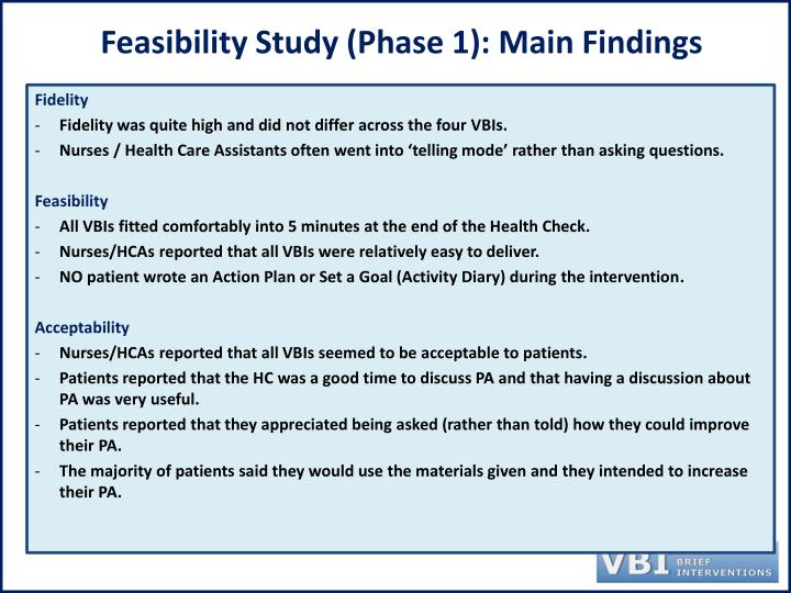 Feasibility Study (Phase 1): Main Findings